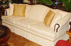 ultra-suede couch upholstered by Handy Ann Compton