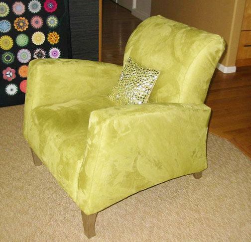 reupholstered chair in a matching green