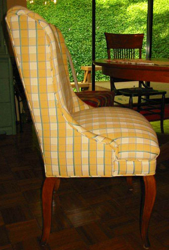 side view of newly upholstered chair